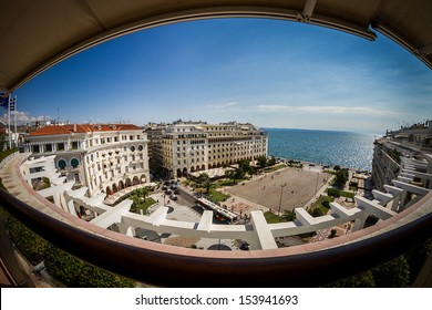 Panoramic view of Aristotelous, at the heart of Thessaloniki city, Greece