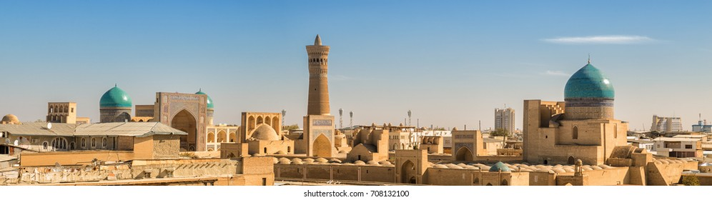 Panoramic view from the Ark fortress to the Po-i-Kalyan complex, Bukhara, Uzbekistan