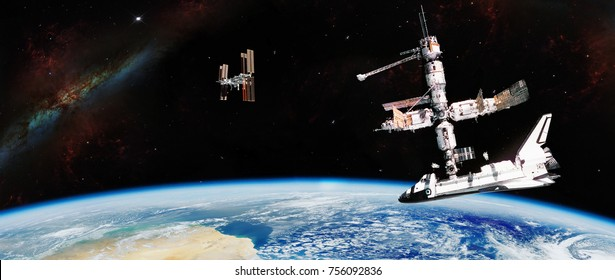 Panoramic view artist expression of International Space Station activity  over an Earth with a solar milky stars behind it - Elements of this image furnished by NASA.