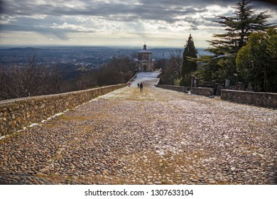 """Panoramic view of the ascent of the seventeenth-century fourteen chapels, with the representation of the Via Crucis, of the """"Sacro Monte di Varese"""""""