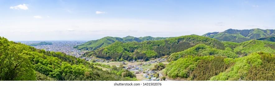 Panoramic view of Ashikaga City, Tochigi Prefecture