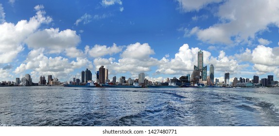 Panoramic view of the Asia Bay and Kaohsiung City skyline