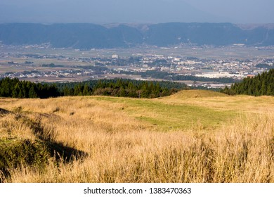 Panoramic view of Aso city inside Aso volcanic caldera, part of Aso-Kuju National Park - Kumamoto prefecture, Japan