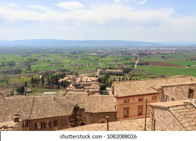 Panoramic view of Assisi and its sourrounding landscape, Italy