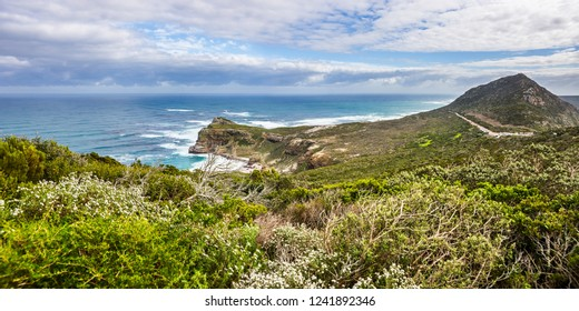 Panoramic view of the Atlantic and Indian ocean coast in South Africa with the Dias beach and Cape of Good Hope.
