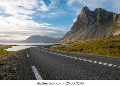 Panoramic view of the Atlantic Ocean and the road in the East Fjords, Iceland