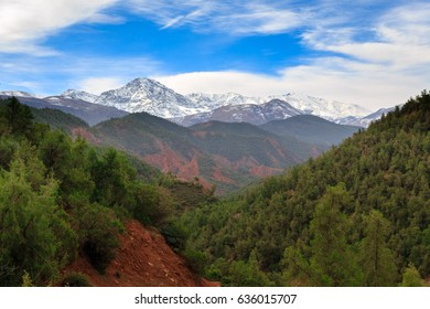 Panoramic view of Atlas mountains near Marrakesh, Morocco