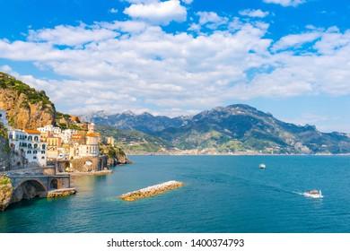 Panoramic view of Atrani. Italian seaside town on coastline of Tyrrhenian Sea