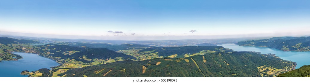 Panoramic view of Attersee and Mondsee lakes from Schafberg mountain, Austria