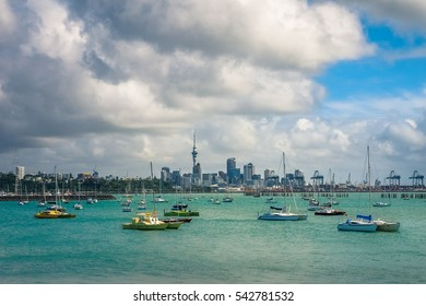 Panoramic View of Auckland City Skyline under the Cloudy Sky in New Zealand.