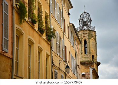 Panoramic view of the Augustinian Convent iconic campanile and the surrounding Baroque architecture buildings in the historic center of Aix-en-Provence Marseille, Provence-Alpes-Côte d'Azur, France.
