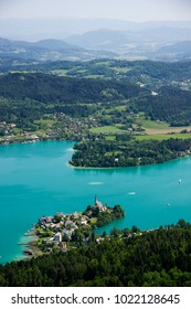 Panoramic view of Wörthersee in Austria