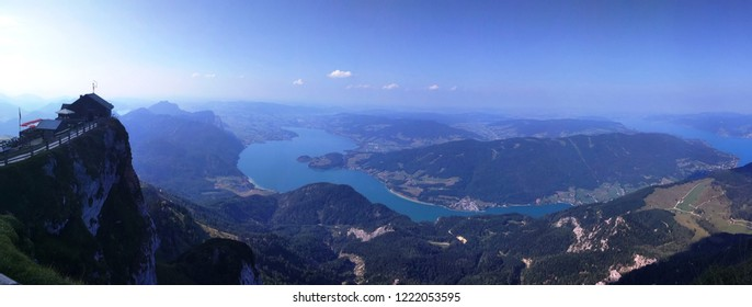 Panoramic view of Austrian Alps, Mondsee and Attersee lakes from Schafbergspitze, Upper Austria, Salzburg