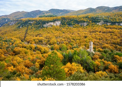 Panoramic view of the autumn forest in the Luberon National Park, Provence, France.  Priory of Saint-Symphorien of Bonnieux