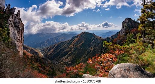 Panoramic view of autumnal Dinosaur ridge of Seoraksan Mt near Sokcho-si, South Korea