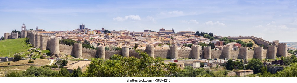 Panoramic view of Avila. Avila, Castile and Leon, Spain.