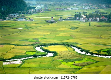 Panoramic view of Bac Son valley from the top of Mount Na Lay in Bac Son district, Lang Son province, Vietnam