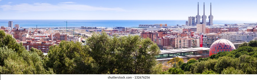 Panoramic view of Badalona and Sant Adria de Besos. Barcelona, Spain