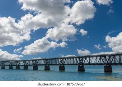 Panoramic view of the Bahia Honda Railroad Bridge in the lower Florida Keys connecting Bahia Honda Key with Spanish Harbor Key