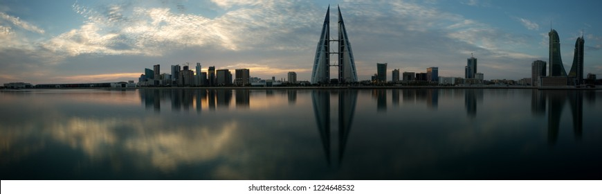 Panoramic view of Bahrain skyline with iconic buildings