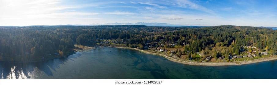 Panoramic View of Bainbridge Island Washington USA - Watefront Housing to Kitsap County to Olympic Mountains