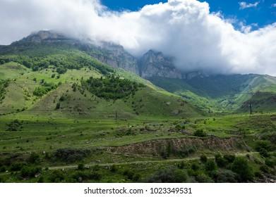 Panoramic view of Baksan gorge in the Caucasus mountains in Kabardino-Balkaria, Russia - Shutterstock ID 1023349531