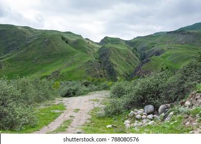 Panoramic view of Baksan gorge in the Caucasus mountains in Kabardino-Balkaria, Russia