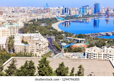 Panoramic view of Baku. A bird's-eye view. Republic of Azerbaijan