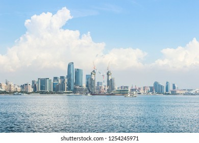 The Panoramic view of Baku from The Caspian Sea