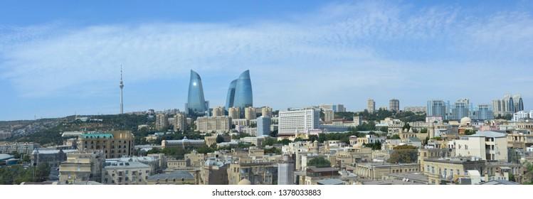 Panoramic view of Baku city center.