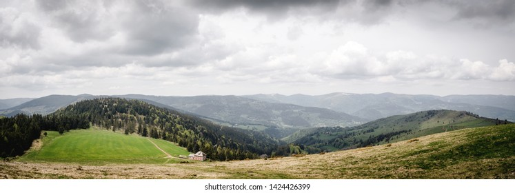 Panoramic view of Ballon des Vosges in Alsace, France.The Regional Natural Park Ballons des Vosges is the largest French Regional Park and covers a large territory : Alsace, Lorraine and Franche-Comté