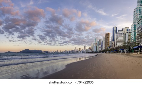Panoramic view of Balneario Camboriu beach and skyline at sunset - Balneario Camboriu, Santa Catarina, Brazil