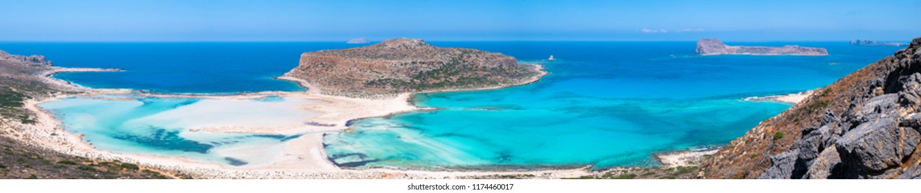 Panoramic view of Balos beach at Crete in Greece