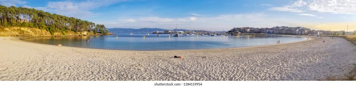 Panoramic view of Baltar beach and Portonovo village in Sanxenxo town