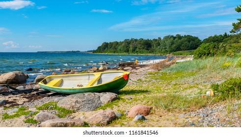 Panoramic view of Baltic Sea coast at Kaberneeme. Estonia, Europe