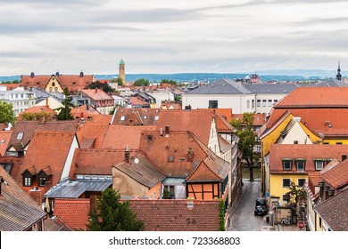 Panoramic view of Bamberg historic center from Bamberger Rose garden. Bamberg, Upper Franconia, Germany.