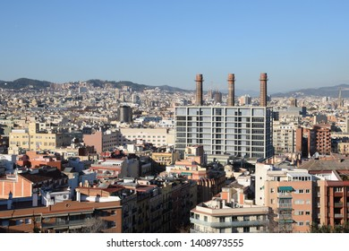 Panoramic view of Barcelona city (Europe)