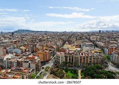Panoramic view of Barcelona in cloudy spring day