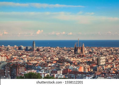 Panoramic view of Barcelona in a summer day