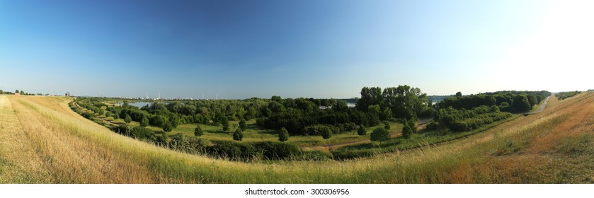 Panoramic view of the Barleber See I and II seen from the Mittelland Canal in Magdeburg, Saxony-Anhalt, Germany.