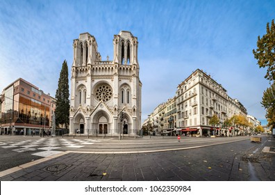 Panoramic view of Basilica of Our Lady of the Assumption located on Avenue Jean Medecin in Nice, France