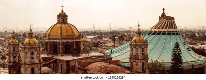 Panoramic view of Basilica of Our Lady of Guadalupe in Mexico city