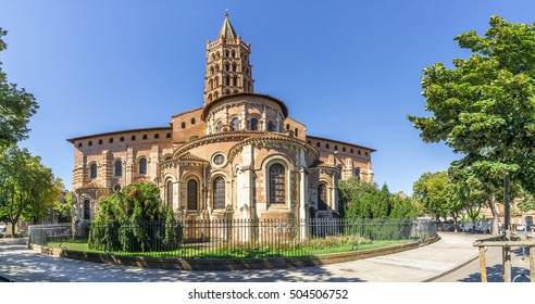 Panoramic view at the Basilica of Saint Sernin in Toulouse - France