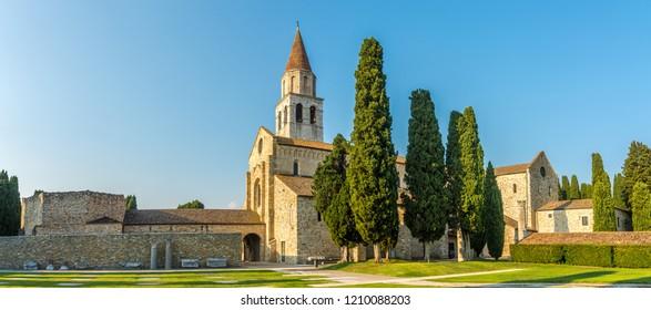 Panoramic view at the Basilica of Santa Maria Assunta in Aquileia, Italy