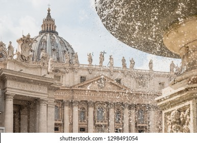 Panoramic view of Basilica of St. Peter and fountains in Vatican, Roma, Italy.