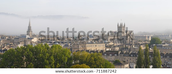Panoramic view of Bath with a misty sky.