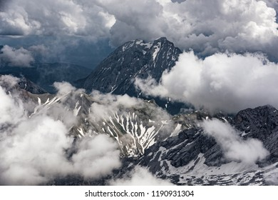 Panoramic view to the Bavarian Alps from Zugspitze, the highest mountain in the country and home to three glaciers and Germany's highest ski resort.