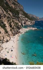 Panoramic view of the bay beach called Cala Mariolu in the Orosei gulf (Sardinia, Italy)