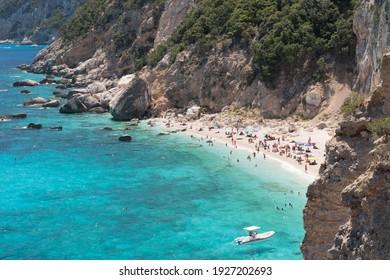 Panoramic view of the bay called Cala dei Gabbiani in the Orosei gulf (Sardinia, Italy)