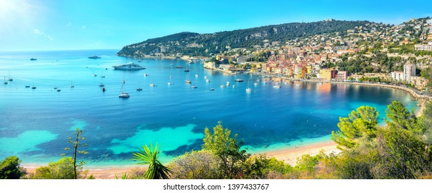 Panoramic view of bay Cote d'Azur and resort town Villefranche sur Mer. French riviera, France